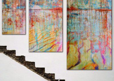 Evolution »das was kommen wird« Triptychon 60 x 170 : 90 x 220 : 120 x 270 cm 2014 Christian Nienhaus ©